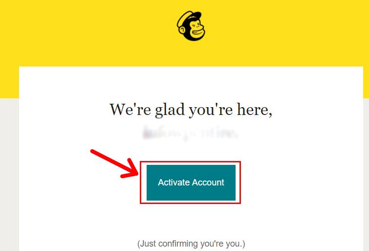 Activate Account of Mailchimp