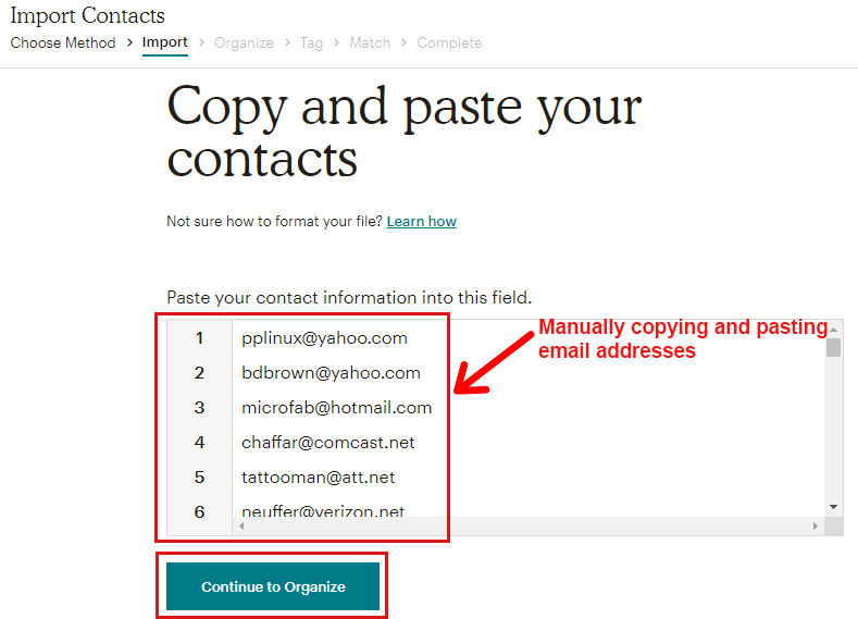 Copying and Pasting Contact