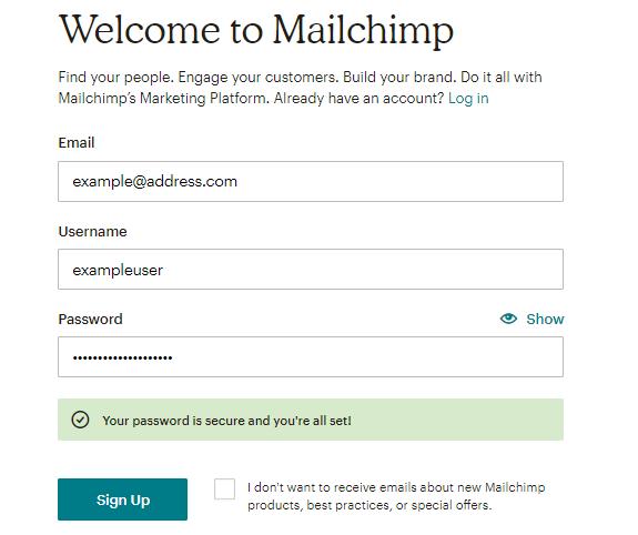 Signup Form of Mailchimp