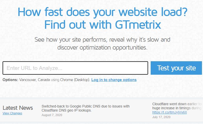 GTmetrix Speed analysis tool