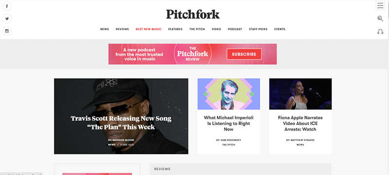 Pitchfork a Popular Music Blog