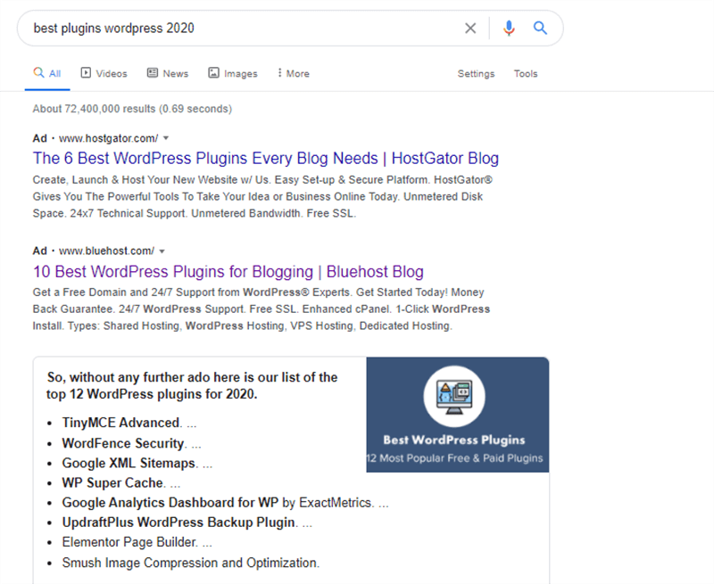 Plugin Recommendation on Google Search