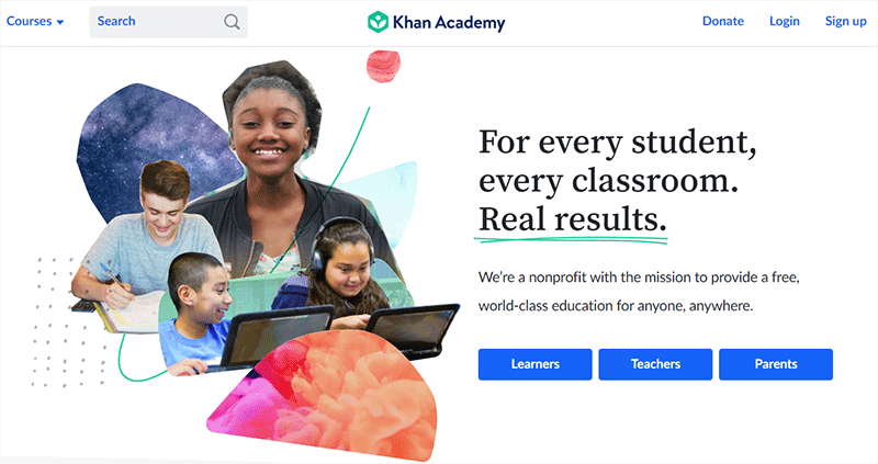 Khan Academy Popular Type of Educational Websites