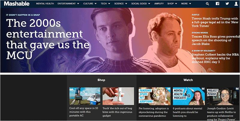 Mashable Blog Website