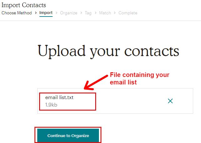 Uploading Email List