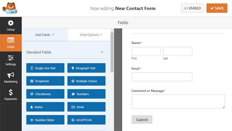 WPForms Form Building Dashboard Area