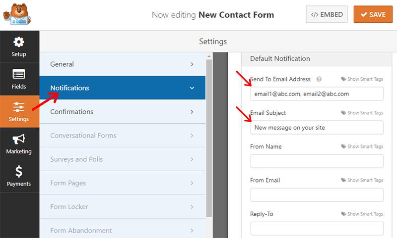 Notification Settings WPForms
