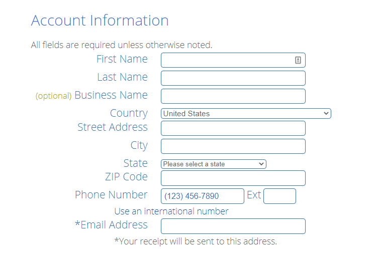 Signup Form Bluehost