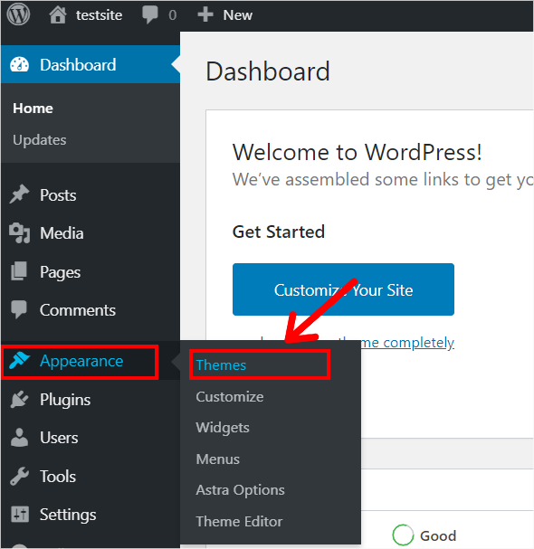 Themes Section in Dashboard