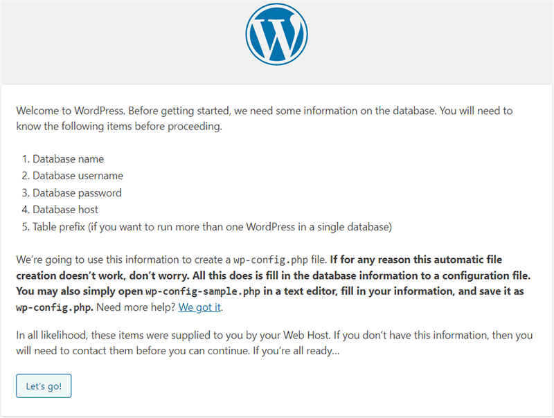Welcome Screen of WordPress
