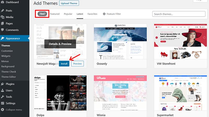 Add New Theme in WordPress.org