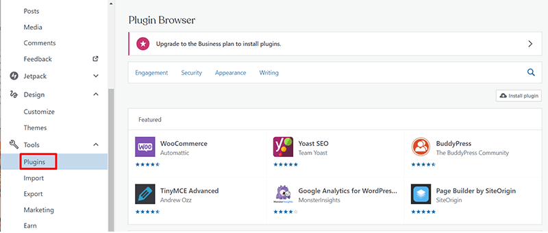 Add New Plugin in WordPress.com