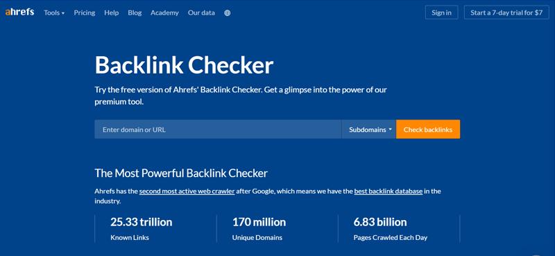 Ahrefs Backlink Checker Tool