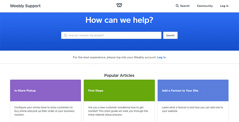 Weebly Support with Documentation