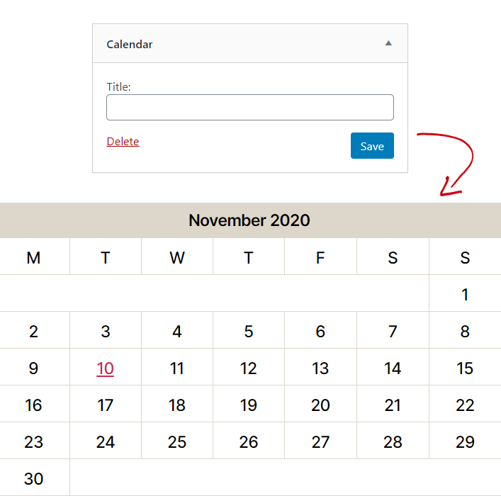 WordPress Calendar Widget