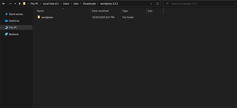 Extracted Folder from WordPress Download.