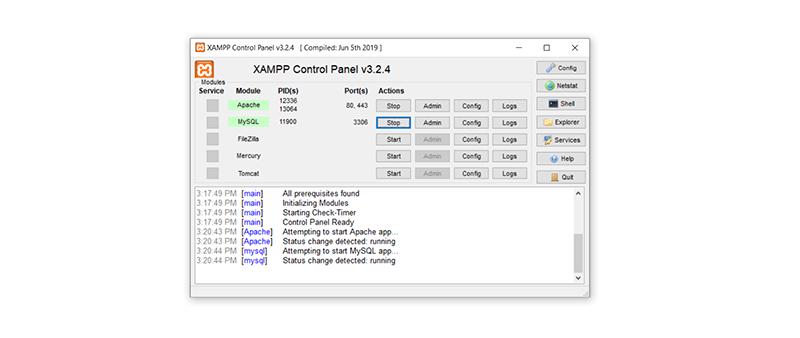 XAMPP Apache and MySQL module started.