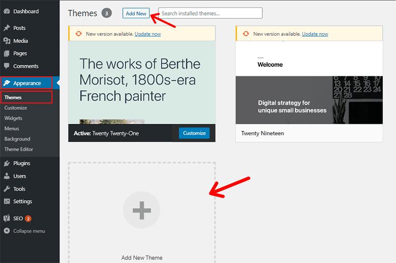 Adding New Theme From WordPress Dashboard