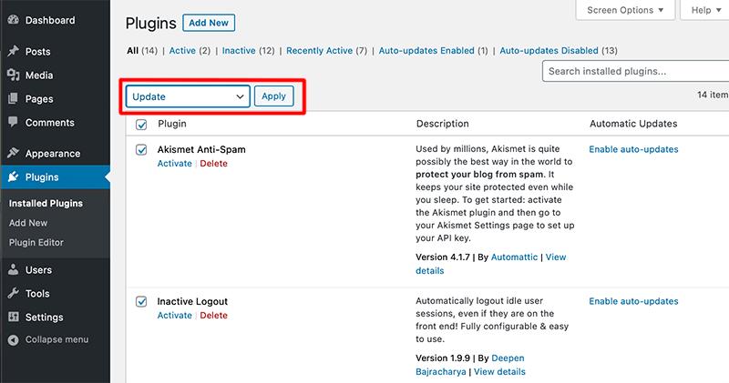 Bulk Plugin Update Option