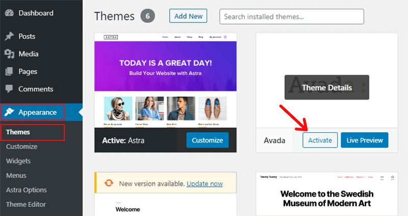 Click on Activate Button to Activate the Theme