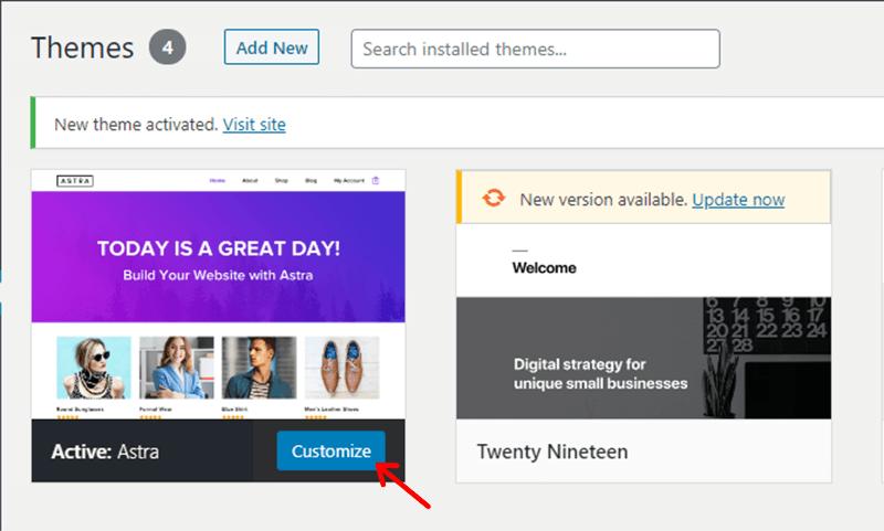 Click on Customize Button to Start Customizing the Theme