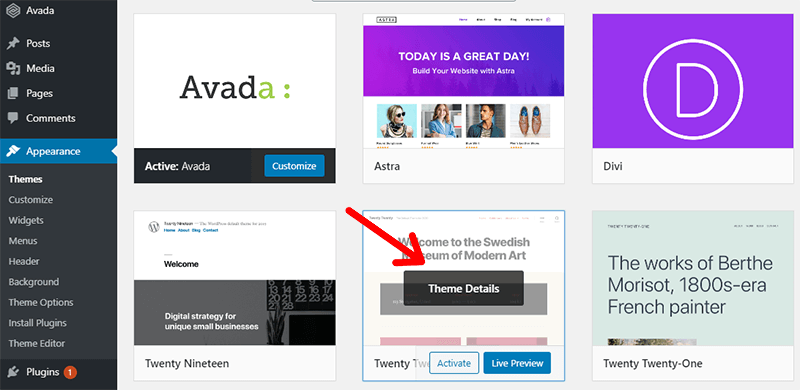 Installed WordPress Theme Details on WordPress dashboard Theme Page