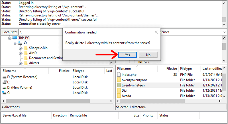 Confirm Deleting Server Files with FileZilla
