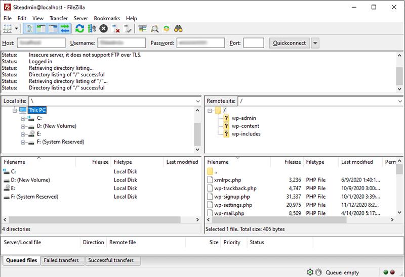 WordPress Server Connected with Local PC via FileZilla