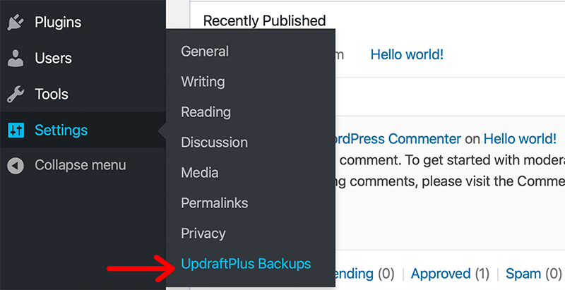 UpdraftPlus Backups Settings