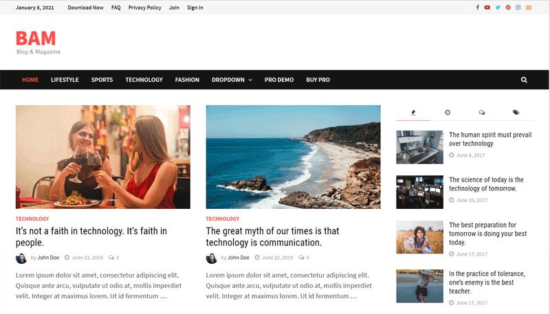 Bam WordPress Blog Theme