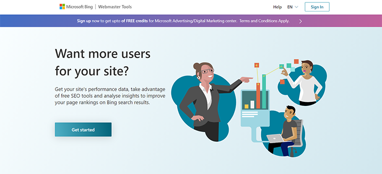 Bing Webmaster Tools Home Page