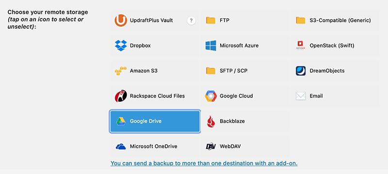 Choose your remote storage location