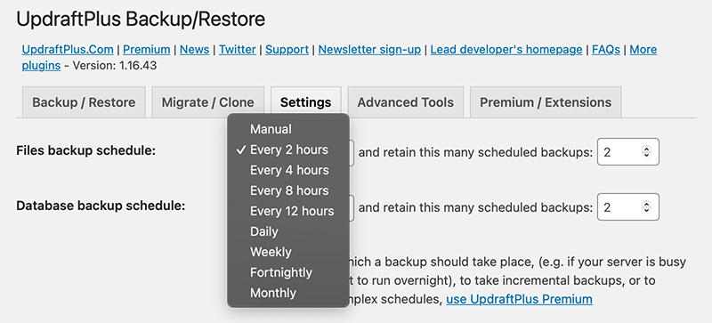 Schedule your backup