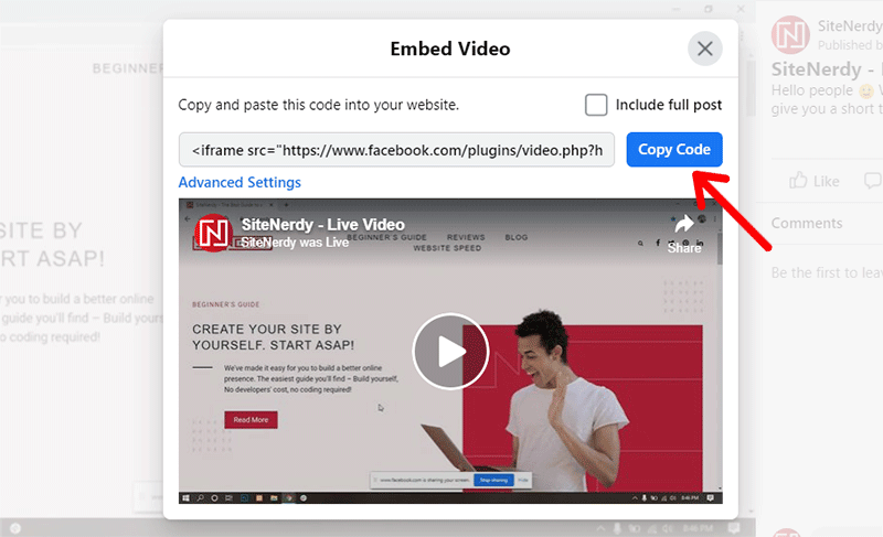 Copy the Video Embed Code