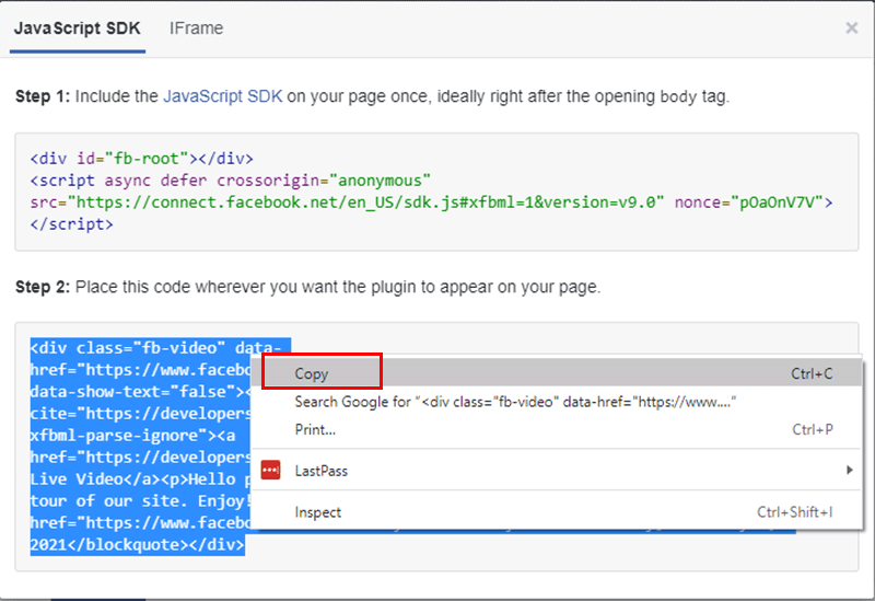Copy Second Code from Facebook Embed Video Player Configurator