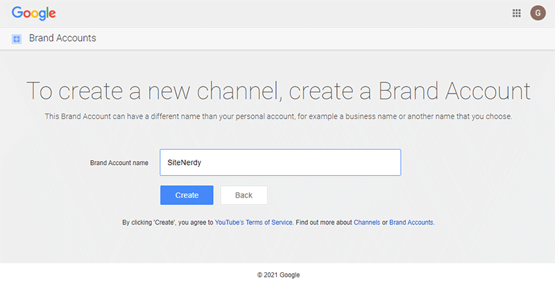 Create New Channel On YouTube