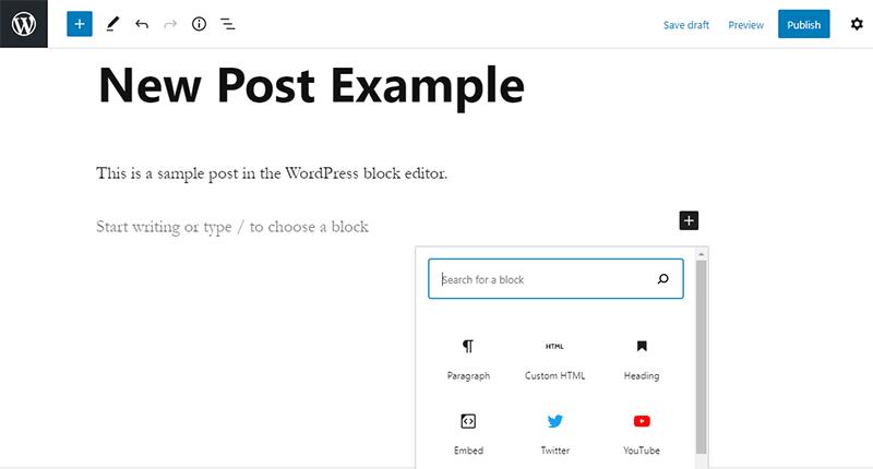Creating New Post on WordPress with Gutenberg Editor