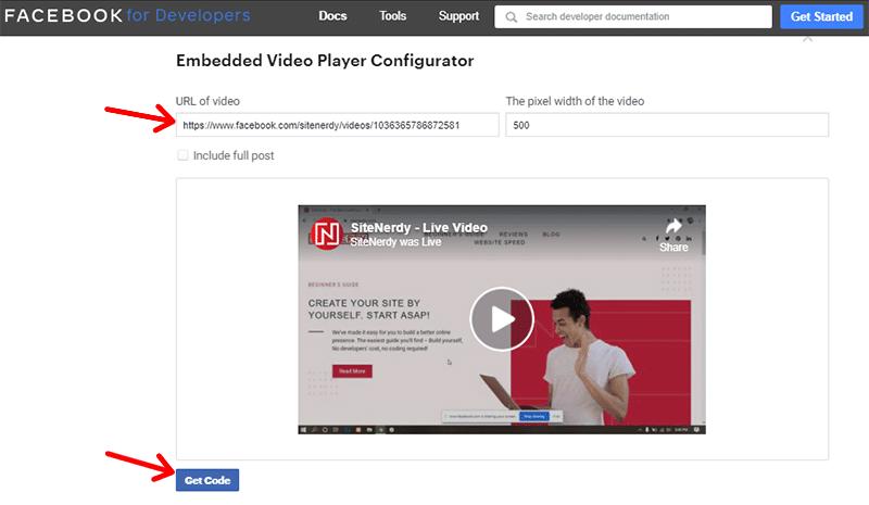 Facebook Video Player Configurator Get Embed Code using Video URL