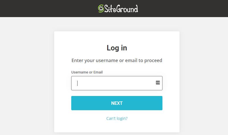 SiteGround Login Page