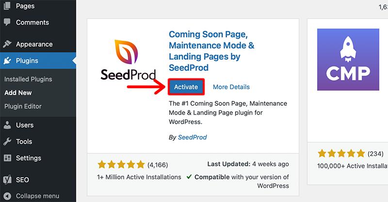 Activate Seed Prod Plugin