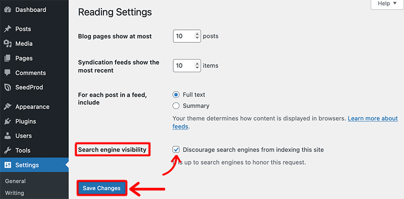 Enable Search Engine Visibility