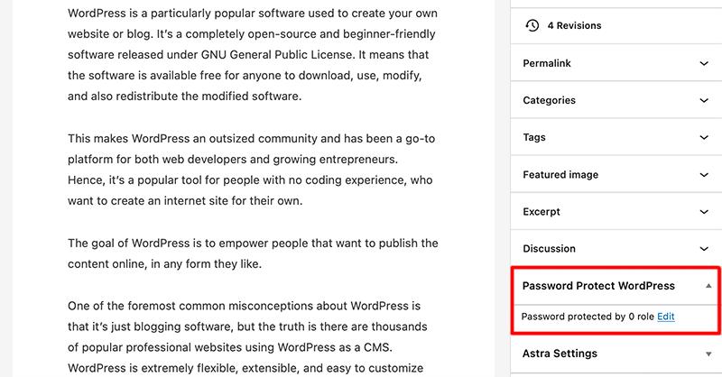 Password Protect WordPress Section