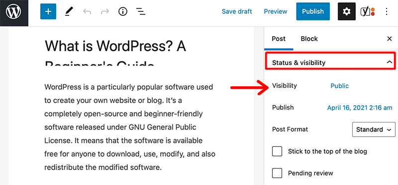 Status and visibility Section