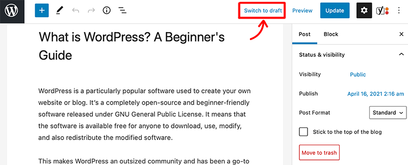 Switch to Draft Option