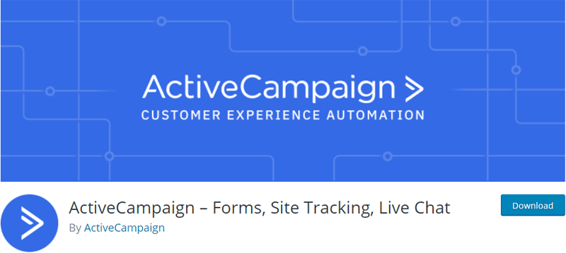 ActiveCampaign – Forms, Site Tracking, Live Chat