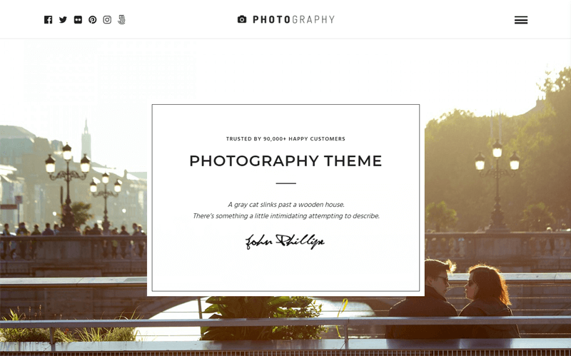 Photography Full Screen Menu WordPress Themes for Photographers