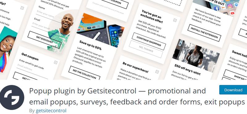 Popup plugin by Getsitecontrol Free WordPress Survey Plugin