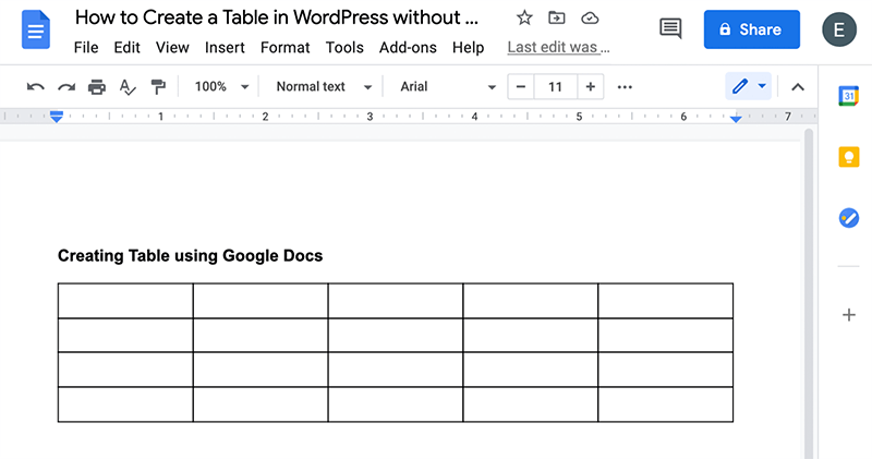 Blank Table Created in Google Doc