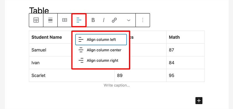 Change Text Alignment Button