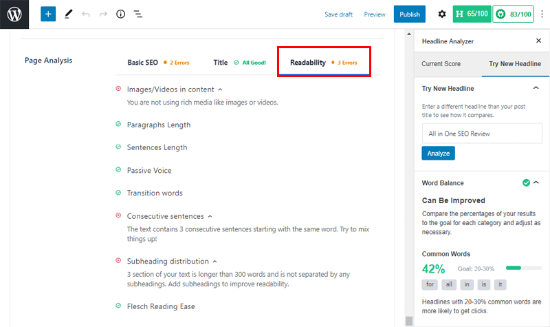 Page Analysis- Readability analysis in All in One SEO